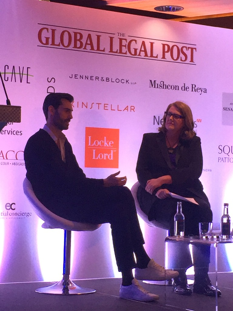 Marion on stage with Founder & CEO of Lyst, Chris Morton, at the Luxury Law Summit at the Four Seasons Hotel in London, 17 May 2016.