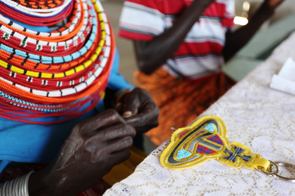 Vivienne Westwood keyring being beaded by the Maasai in Kenya